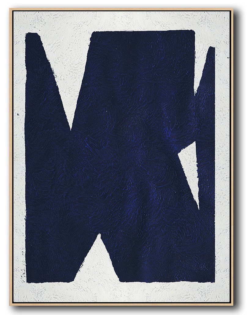 Large Abstract Art,Navy Blue Abstract Painting Online,Handmade Acrylic Painting